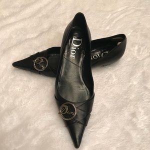 Dior Christian Dior Black Pointy Flats
